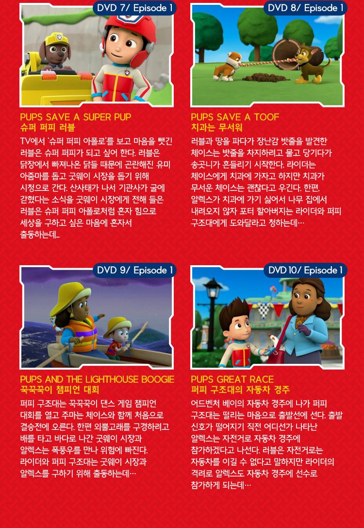 Paw Patrol DVD 1집 에피소드 엿보기 DVD7~10