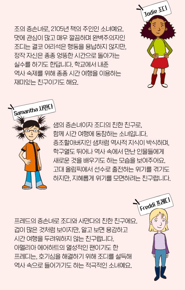 Time Warp Trio DVD 캐릭터 소개: 조디 Jodie, 사만다 Samantha, 프레디 Freddi